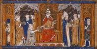 Papst Gregor IX. händigt die Dekretale aus