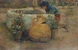 Junge in einen Brunnen schauend