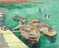 Rhonebarken. (Les bateaux amarrés.)