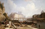 Blick auf die Ile de la Cité, vom Quai du Louvre aus, die Brücken Pont des Arts und Pont Neuf im Vordergrund