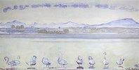 Der Hafen von Genf vom Quai du Mont Blanc aus, mit neun Schwänen im Vordergrund