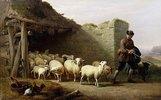 Ein Hirte mit seiner Herde