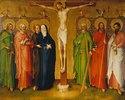 Christus am Kreuz, Maria, und die hll. Jakobus d.Ä., Petrus, Johannes Ev