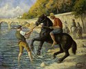 Badendes Pferd in der Seine