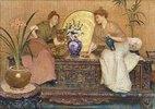 Zwei Damen auf einer Truhe sitzend