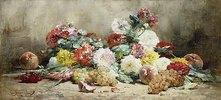 Nelken, Rosen, Trauben und Pfirsiche