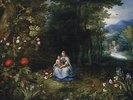 Madonna mit Kind in einer Waldlandschaft