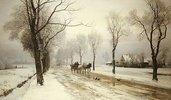 Winterlandschaft mit Pferdefuhrwerk. 1882