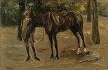 Reitknecht mit Pferd im Park