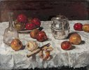 Stillleben mit Äpfeln und Keksdose