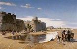Eine Karawane vor einer Festung