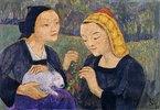 Zwei Mädchen mit einem Hasen