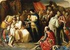 Szene im Zelt des 'Schwarzen Prinzen' Edward of Woodstock nach der Schlacht bei Maupertuis, König Johann wird wie ein Gast behandelt