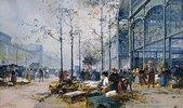 Les Halles, Paris. (es wird angenommen, dass Lieven ein Pseudonym für Eugène Galien-Laloue ist)