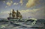 Segelschiff bei Seegang