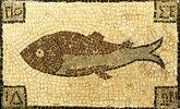 Römisches Mosaik mit Fischmotiv. Ca. 4.-5. Jh. n.Chr