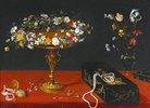 Stillleben mit Blumenkranz, Lackdose, Taschenuhr und Blumenstrauß in einer Glasvase
