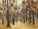 Tiergarten im Herbst mit Spaziergangern