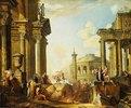 Marcus Curtius springt in den Abgrund, Capriccio mit der Trajanssäule und anderen antiken Gebäuden