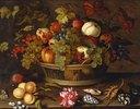 Stilleben mit Trauben, Äpfeln, Pfirsich, Pflaumen und Blumen