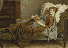 Eine junge Dame, lesend in einem Zimmer