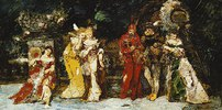 Darsteller auf einer Terrasse mit Faust und Mephisto