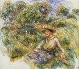 Frau mit blauem Hut auf einer Wiese (Femme en bleu en chapeau assise sur l'herbe)