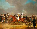Das 1000-Sovereigns-Rennen zwischen Sir Joshua und Filho da Puta, Row am 15. April