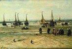 Meeresstrand mit Fischerbooten und Fischervolk