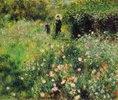 Frau mit Sonnenschirm in einem Garten