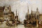 Ansicht der Graslei und Korenlei sowie der Sankt Niklas Kirche in Gent