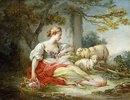 Eine Hirtin mit ihren Schafen und einem Blumenkörbchen in einer Waldlandschaft