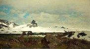 Nordische Landschaft mit Rentieren. Um 1870
