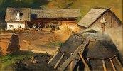 Kohlenmeiler mit Hütten
