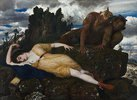 Die schlafende Diana, von zwei Faunen belauscht