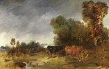 Große Herbstlandschaft mit Kühen