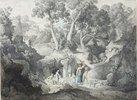 Heroische Landschaft mit Landleuten beim Brunnen