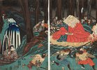 Ushiwakamaru folgt den Anweisungen des Sojobo und übt sich im Schwertkampf
