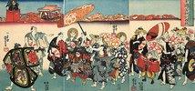 Umzug der Gesellen aus dem Blaublütenstudio des wackeren Kuniyoshi