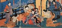 Die Palastdamen quälen die eifersüchtige Omiwa (Aus dem Kabuki-Schauspiel Chronik der Frauen von Imosegawa)