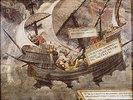 Der Gleichmut des Philosophen Pyrrhon im Sturm.  Feder, Deckfarben auf Pergament