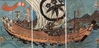 Tametomo und sein Gefolge auf ihrem Schiff, mit Oniyasha als Lotse