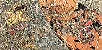 Yoshitsune und seine Getreuen werden in der Bucht von Dannoura von den rachsüchtigen Geistern der Taira angegriffen (Aus einer unbetitelten Serie von Schlachtendarstellungen)
