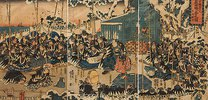 Wie in der Ära Ryakuo 47 Samurai vom Hofe des Fürsten Enya dessen Todfeind Kono Moronao in der Nacht angriffen
