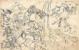 Studie zur Erzählung Die zwei Bogenspanner am Bogen des Tametomo (links); Skizze für das Diptychon Die starke Frau Okane aus der Provinz Omi (rechts oben)