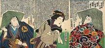 Bando Shinge, Iwai Shijaku II. und Kawarazaki Sansho (Aus dem Kabuki-Schauspiel Die Begegnung der Rivalen im Vergnügungsviertel)
