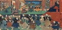 Der Bote des Shogun verkündet dem Haus des Fürsten Enya, dass das gesamte Lehen konfisziert wird (Vierter Akt aus dem Kabuki-Schauspiel Vorlage zur Schönschrift: Ein Schatzhaus von getreuen Samurai)