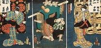 Bühnenszene aus dem Kabuki-Schauspiel Die Begegnung der Rivalen im Vergnügungsviertel (recto von 38349)