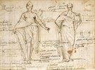 Die allegorischen Figuren von Vernunft und Weisheit - Fol. 8 verso des Sizzen- und Notizbuches