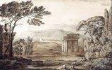 Klassische Landschaft mit Ruinen und Pyramide
